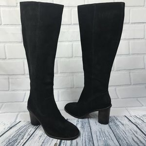 NEW Coach Suede Knee High Ombré Chunky Heel Boots